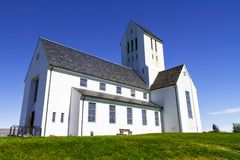 Rad to the church is located in the free field side view. Reykjavik 11.06,2017 Royalty Free Stock Image