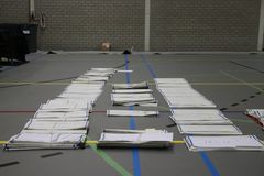 Rada miasta wyborów holandie 2018: tajne głosowania liczący i sortujący w duży sportfacilitiy w holandiach obraz stock