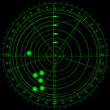 Radar. A vector radar screen showing some unidentified objects Stock Photo
