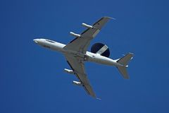 Radar Airplane. An awacs flying by royalty free stock images