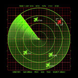 Radar. Airport Air Traffic Control Radar Screen with Planes on a Grid Stock Photography