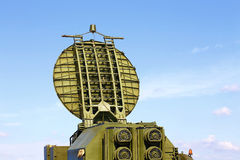 Radar antenna. Multifunction parabollic  radar antenna, made of phased array technology Stock Photo