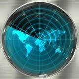 Radar azul del mundo ilustración del vector
