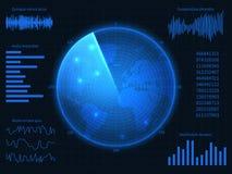 Radar azul militar Interfaz de Hud con el sonar, las cartas y los elementos de control Pantalla virtual del vector de la exhibici libre illustration
