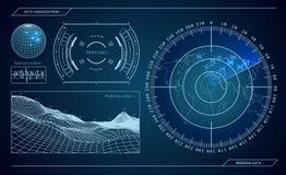 Radar azul militar Pantalla con la blanco Hud Interface futurista Ilustración común del vector ilustración del vector