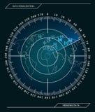 Radar azul militar Pantalla con la blanco Hud Interface futurista Ilustración común del vector libre illustration