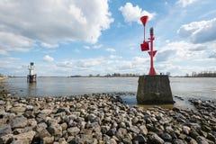 Radar beacons in a Dutch river Stock Photos