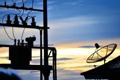 Radar in blue sky Stock Photo