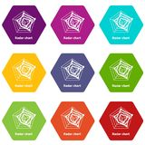 Radar chart icons set 9 vector. Radar chart icons 9 set coloful isolated on white for web Stock Images