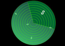 Radar com sinal de dólar Imagem de Stock
