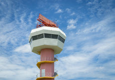Radar communication tower and nice sky Royalty Free Stock Photos
