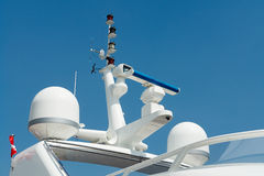 Radar and communication tower on a yacht Stock Images