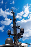 Radar and Communication Tower on a Yacht Stock Image