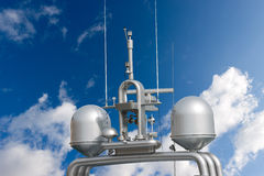 Radar and Communication Tower on a Yacht Royalty Free Stock Images