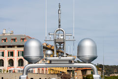Radar and Communication Tower on a Yacht Stock Photos