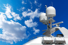 Radar and Communication Tower on a Yacht Royalty Free Stock Photos