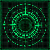 Radar compass rose with globe. Royalty Free Stock Photography