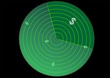 Radar con la muestra de dólar Imagen de archivo