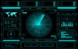 Radar control panel abstract Technology Interface hud on black background vector illustration