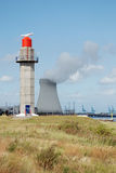 Radar and cooling tower Stock Photo