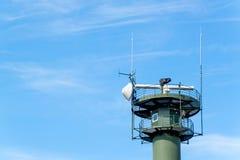 Radar costero en el mar Báltico de Polonia Seguridad del transporte marítimo Supervisión del envío fotos de archivo
