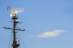 Radar des Kriegsschiffes stockfotografie