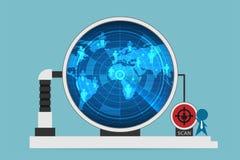 Radar digital del uso del hombre de negocios para explorar símbolos del hombre, el recurso humano y el concepto del negocio Foto de archivo