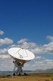 Radar dish in desert. White radar dish in desert under cloudscape, New Mexico, U.S.A royalty free stock image