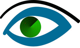 Radar eye. A eye with a radar inside Stock Photography