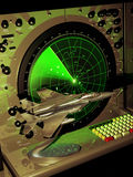 Radar and F15 model. Radar with green screen and incoming objects, and F15 model close to it Stock Photos