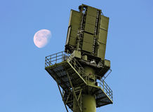 Radar facility. Radar station, consisting of airspace control station and control station aerial objects Stock Images