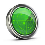 Radar. With green screen. 3d image. White background Stock Photo