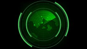 Radar HUD Screen Animation with moving targets. S