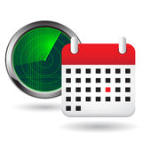 Radar icon and calendar Stock Images