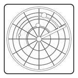 Radar icon, outline style Stock Photography