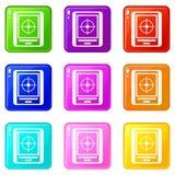 Radar icons 9 set. Radar icons of 9 color set isolated vector illustration stock illustration