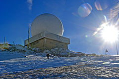 Radar installations on the peak La Dole, Jura Royalty Free Stock Image