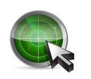 Radar, kaart en curseurillustratieontwerp Royalty-vrije Stock Afbeelding