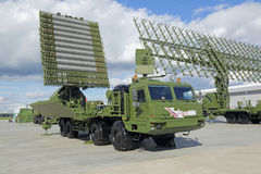 Radar. KUBINKA, MOSCOW OBLAST, RUSSIA - SEP 06, 2016: The interspecific mobile radar system Nebo-M (UHF module) at the International military-technical forum Royalty Free Stock Image