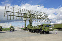 Radar. KUBINKA, MOSCOW OBLAST, RUSSIA - SEP 06, 2016: The mobile three-coordinate multi-range radar complex of medium and high altitudes of the multi-service Royalty Free Stock Images
