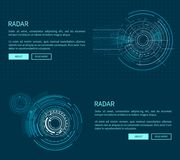 Radar Layout with Many Figures Vector Illustration. With two geometric patterns of sphere, text sample, push-buttons isolated on dark blue background Royalty Free Stock Photo