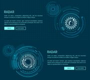 Radar Layout with Many Figures Vector Illustration. With two geometric patterns of sphere, text sample, push-buttons isolated on dark blue background Stock Photos