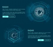 Radar Layout with Many Figures Vector Illustration. With two geometric patterns of sphere, text sample, push-buttons isolated on dark blue background Stock Photography