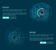 Radar Layout with Many Figures Vector Illustration. With two geometric patterns of sphere, text sample, push-buttons isolated on dark blue background Stock Photo