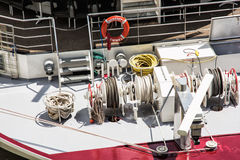 Radar, lifebuoy and ropes on the modern boat Stock Images