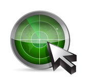 Radar, map and cursor illustration design. Over a white background Royalty Free Stock Image