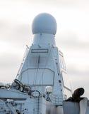 Radar on naval ship. View of radar on naval ship stock images