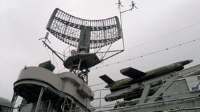 Radar no navio de guerra, Gothenburg - Suécia Fotos de Stock Royalty Free