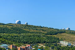 Radar. Old radars on the background of blue sky Stock Images