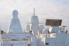 Radar and other communications. Two white naval ships with radar and other communications Royalty Free Stock Photos